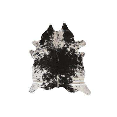 Natural Black and White Salt and Pepper 2 ft. x 3 ft. Calfskin Area Rug
