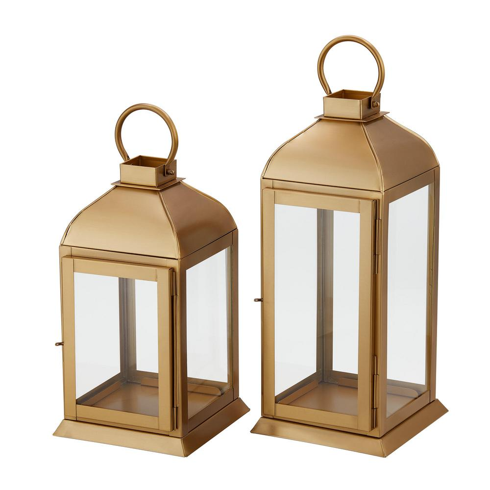 Home Decorators Collection Home Decorators Collection Gold Stainless Steel Candle Hanging Or Tabletop Lantern Set Of 2 Dc18 69990ab The Home Depot