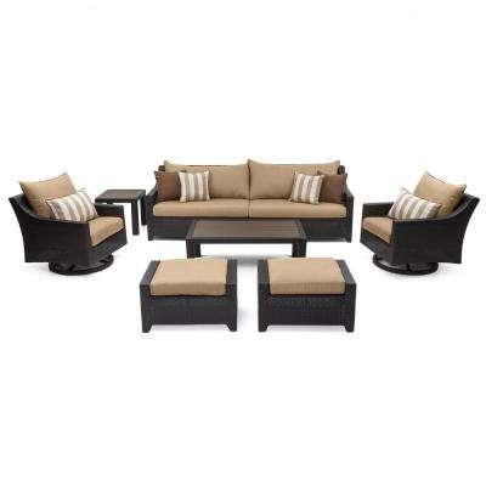 Deco 8-Piece Motion Wicker Patio Deep Seating Conversation Set with Sunbrella Maxim Beige Cushions