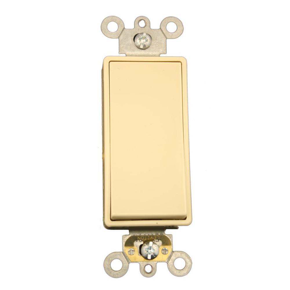 15 Amp Decora Plus Commercial Grade Single Pole Rocker Switch, Ivory