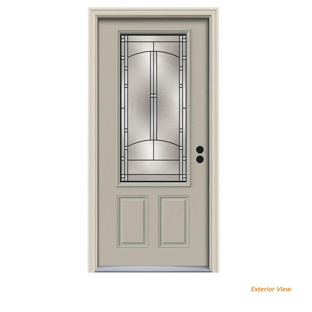32 in. x 80 in. 3/4 Lite Idlewild Desert Sand Painted Steel Prehung Left-Hand Inswing Front Door w/Brickmould