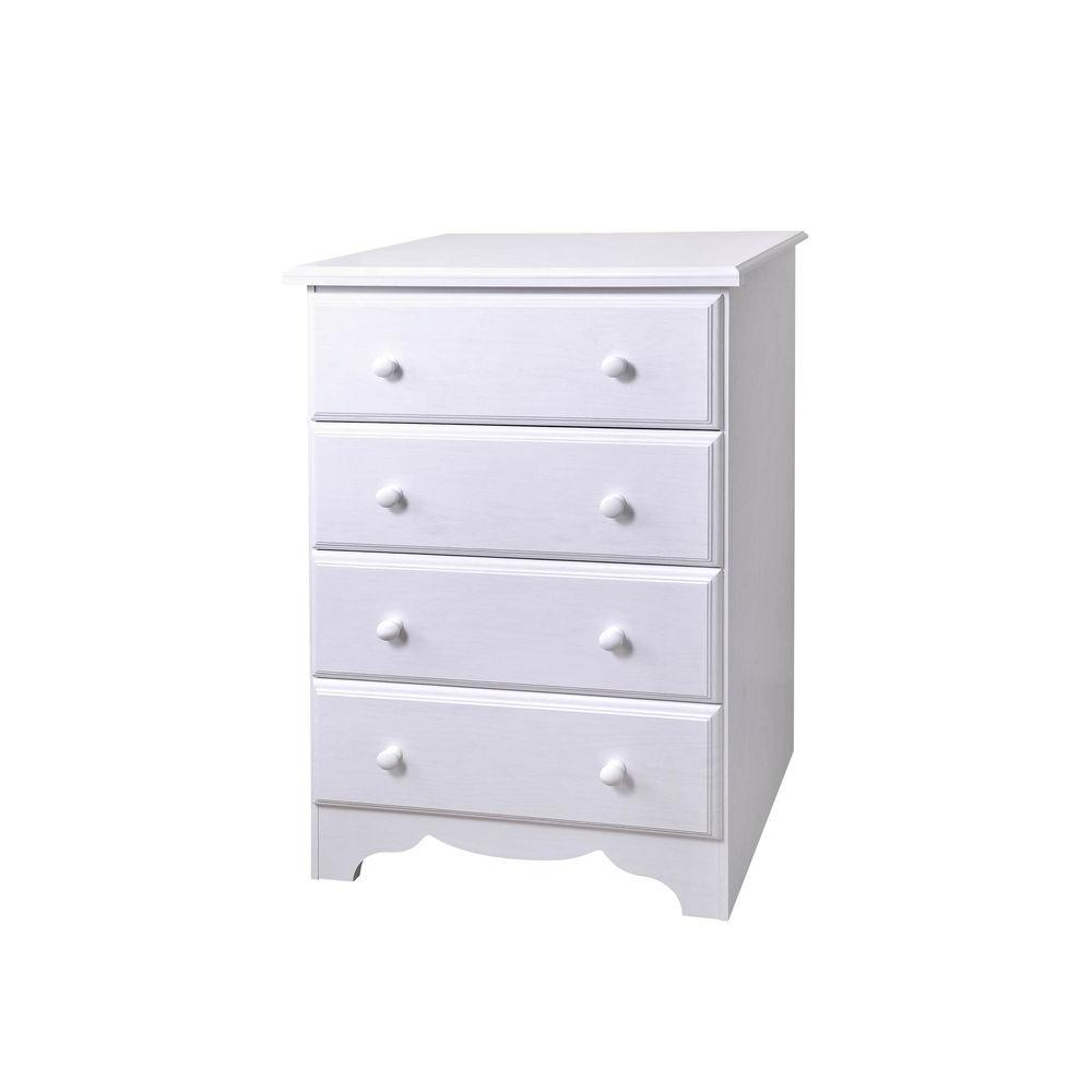 Lane 4-Drawer Laminate Dresser in White