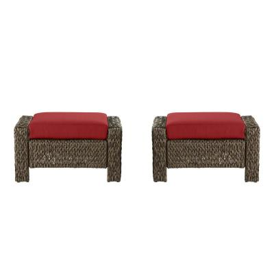 Laguna Point Brown Wicker Outdoor Patio Ottoman with CushionGuard Chili Red Cushions (2-Pack)