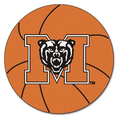 NCAA Mercer University Orange 2 ft. x 2 ft. Round Area Rug
