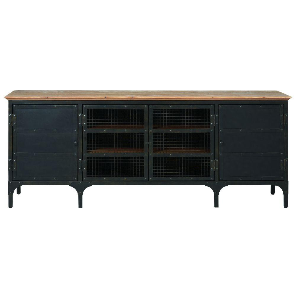Ambrose Natural and Black Storage Entertainment Center