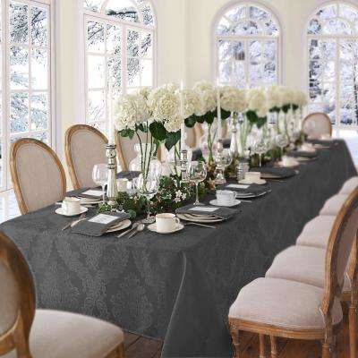 60 in. W x 84 in. L OvaL Gray Elrene Barcelona Damask Fabric Tablecloth