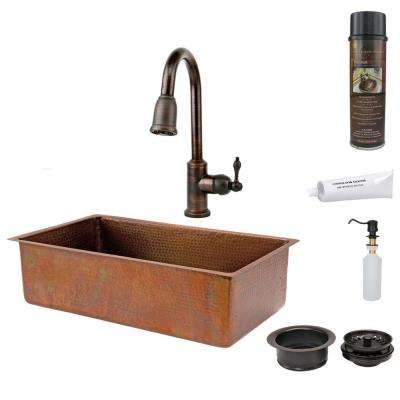 All-in-One Undermount Hammered Copper 33 in. 0-Hole Single Bowl Kitchen Sink in Antique Copper