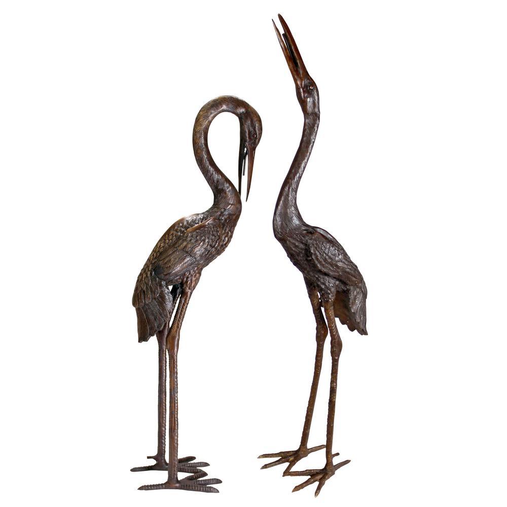 Herons Cast Bronze Large Garden Statue (2-Piece Set)