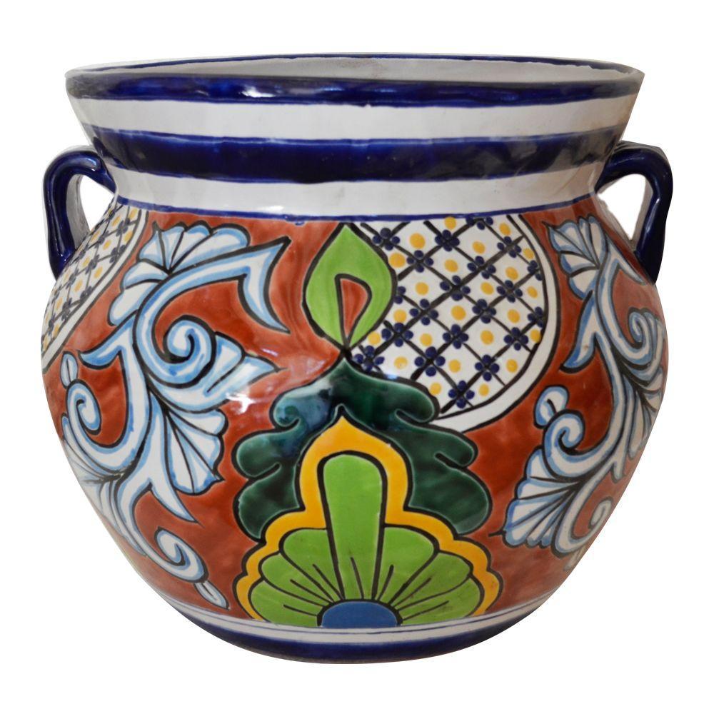 Ravenna Pottery Talavera 12-1/2 in. Round Ceramic Pot with Handles ...