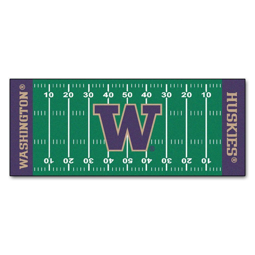 University of Washington 3 ft. x 6 ft. Football Field Rug Runner Rug