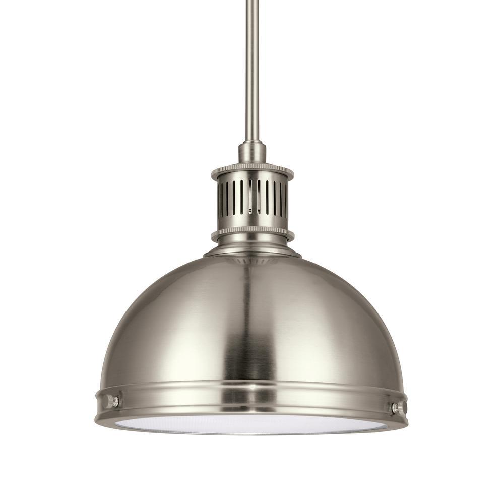 Pratt Street Metal 1-Light 9.5 in. 14-Watt Brushed Nickel Integrated LED Pendant