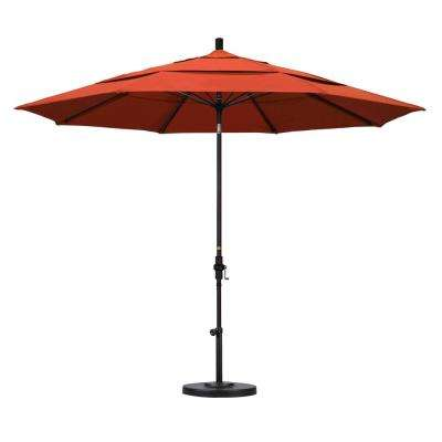 11 ft. Fiberglass Collar Tilt Double Vented Patio Umbrella in Sunset Olefin