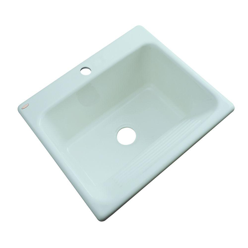 Thermocast Kensington Undermount Acrylic 25 in. Single Bowl Utility Sink in Seafoam Green