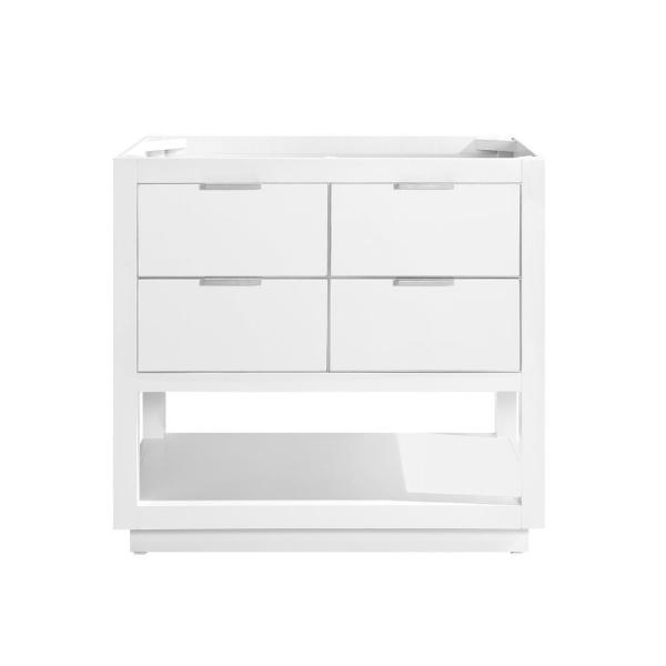 Allie 36 in. Bath Vanity Cabinet Only in White with Silver Trim