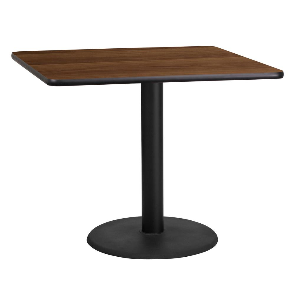 Square Walnut Laminate Table Top With 24 In. Round Table