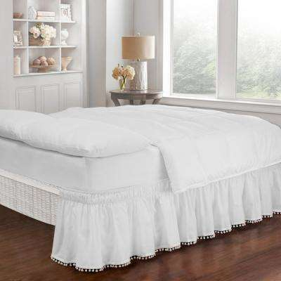 Pom Pom White King/Queen Bed Skirt