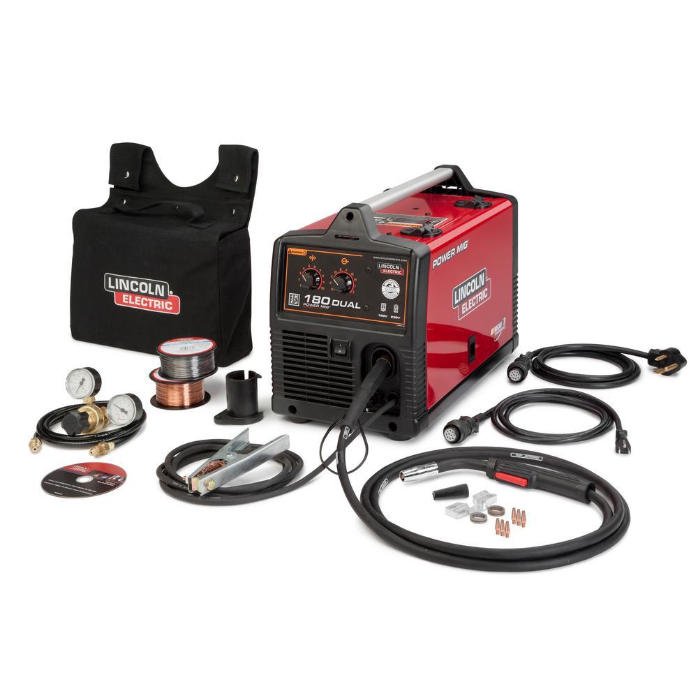 Lincoln Electric 180 Amp Power MIG 180 Dual MIG Wire Feed Welder w/ Magnum Pro 100L Gun 115-Volt/230-Volt