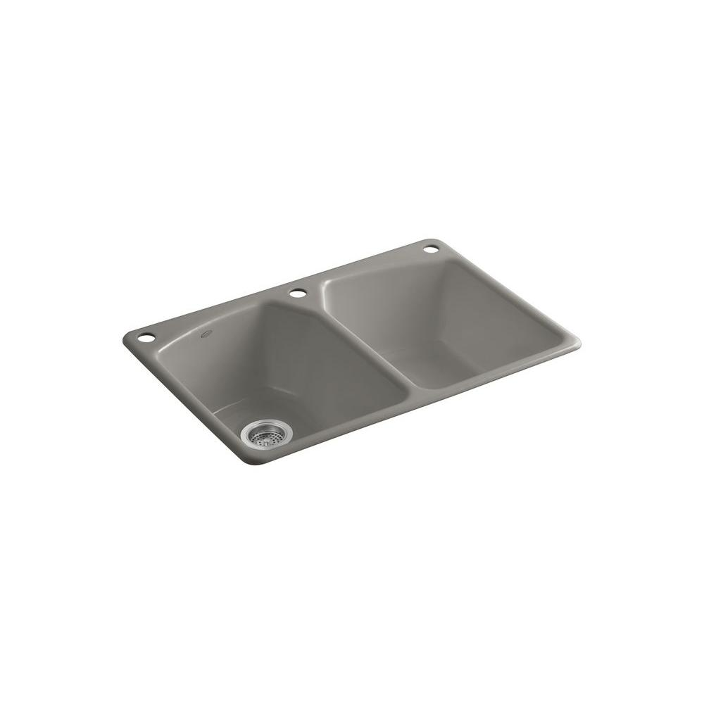 KOHLER Tanager Drop-In Cast-Iron 33 in. 3-Hole Double Bowl Kitchen Sink in Cashmere