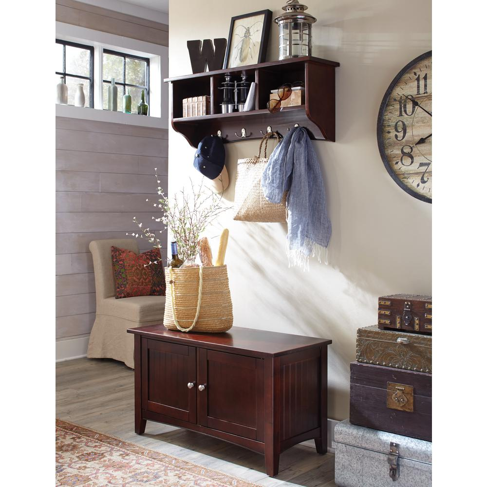 Alaterre Furniture Shaker Cottage Espresso Hall Tree with Storage