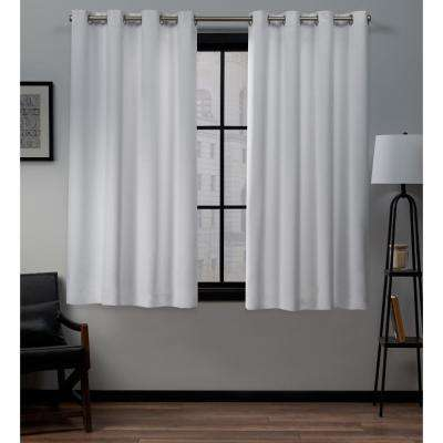 Academy 52 in. W x 63 in. L Woven Blackout Grommet Top Curtain Panel in White (2 Panels)