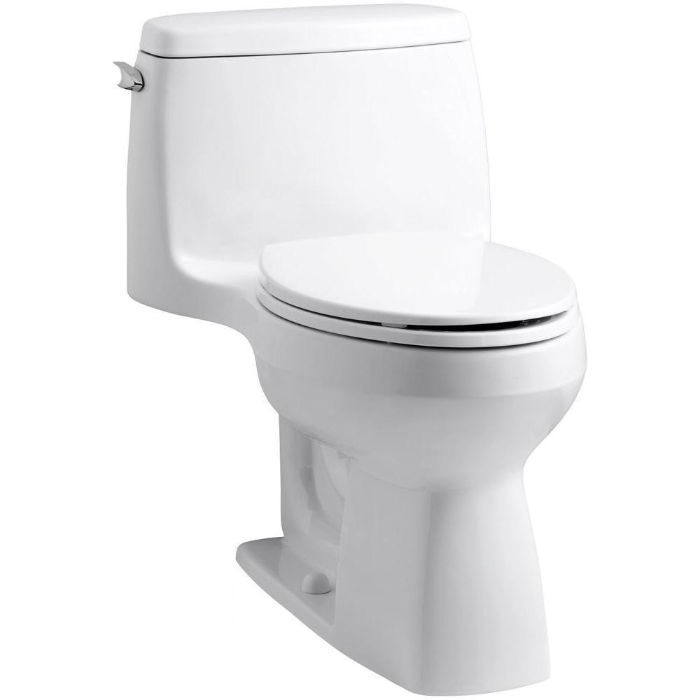 Kohler Santa Rosa Comfort Height 1 Piece 1 28 Gpf Single Flush Compact Elongated Toilet With Aquapiston Flush In White 3810 0 The Home Depot