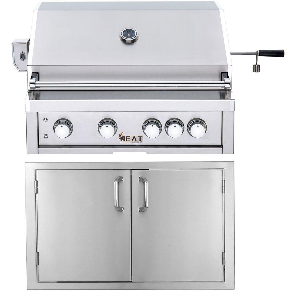 Cambridge 32 in. 4-Burner Natural Gas Grill in Stainless with Doors