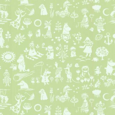 Moomin Green Novelty Wallpaper