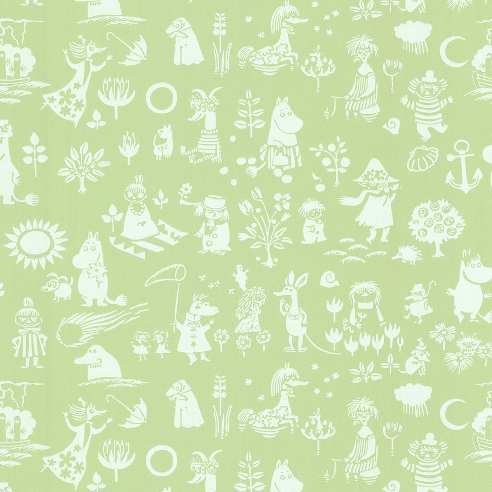 Moomin Green Novelty Wallpaper Sample