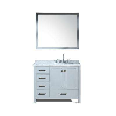Cambridge 43 in. Bath Vanity in Grey with Marble Vanity Top in Carrara White with White Basins and Mirror