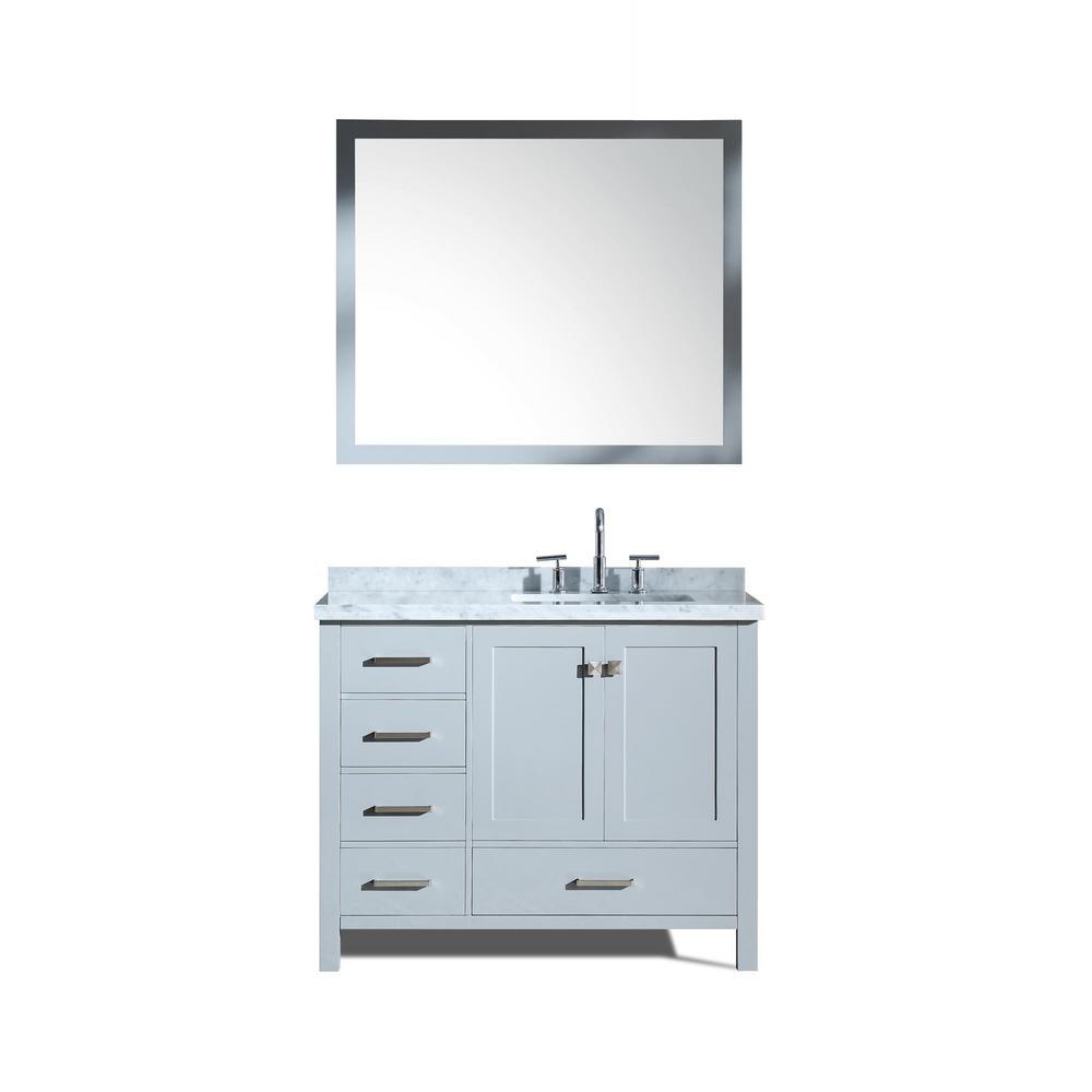 Cambridge 43 in. Bath Vanity in Grey with Marble Vanity Top