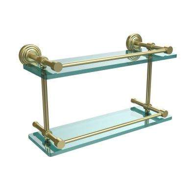 Waverly Place 16 in. L x 8 in. H x 5 in. W 2-Tier Clear Glass Bathroom Shelf with Gallery Rail in Satin Brass