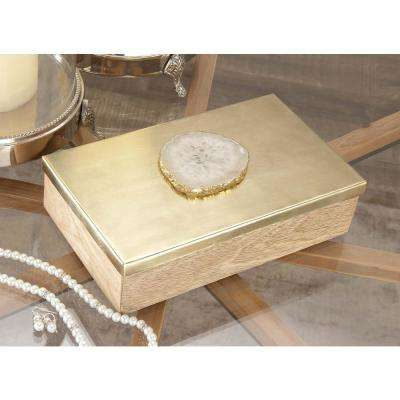 Rectangular Wood, Metal and Stone Box with Lid