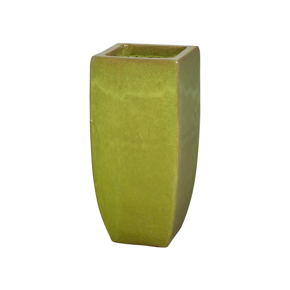 31.5 in. Tall Square Citron Ceramic Planter