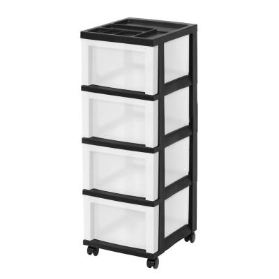 14.25 in. L x 12.05 in. W x 33.56 in. H Medium 4-Drawer Cart with Organizer Top in Black and Pearl