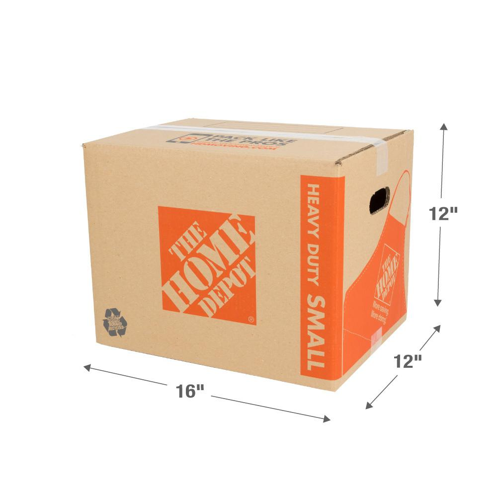 The Home Depot 16 in. L x 12 in. W x 12 in. D Heavy-Duty Small Moving Box with Handles