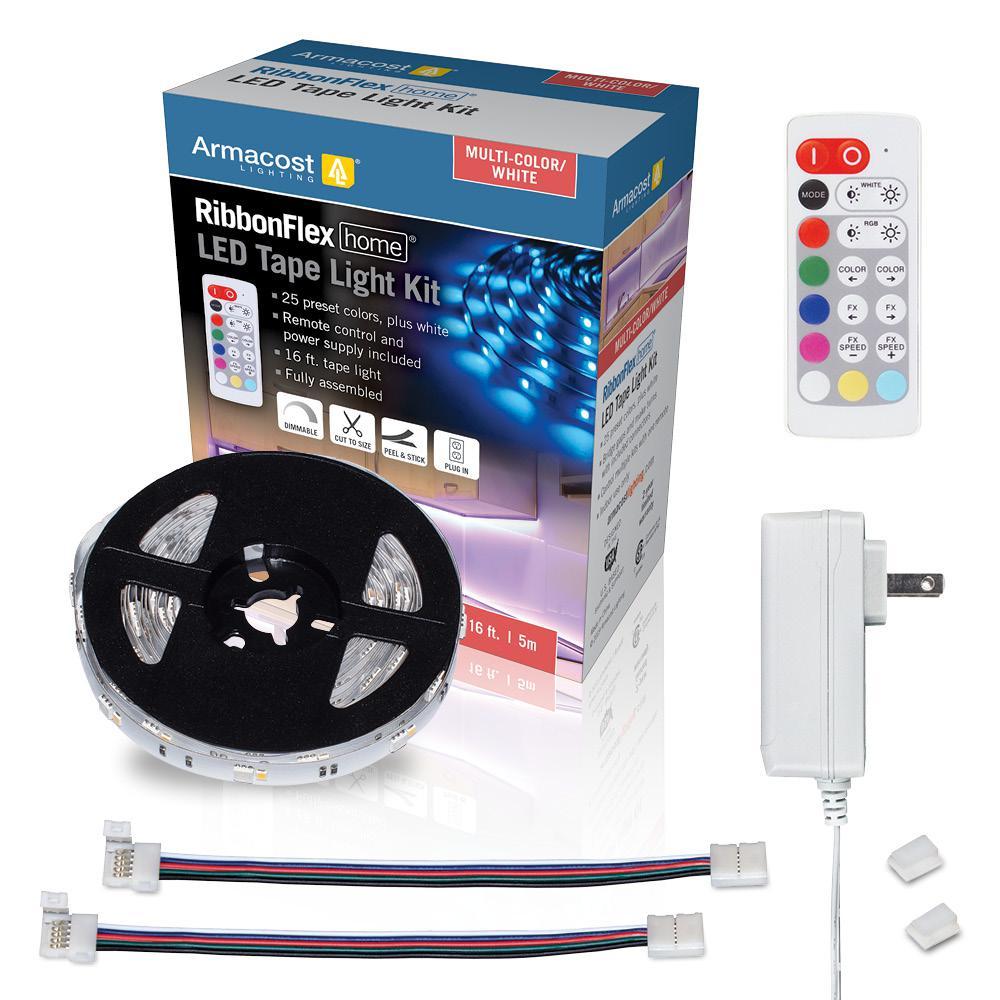 RibbonFlex Home 16 ft. Multi-Color + White LED Tape Light Kit with Remote