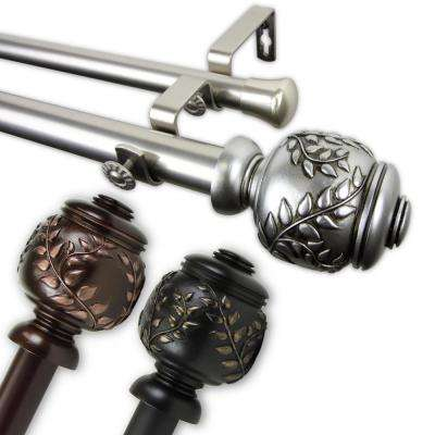 Frond 1 in. Double Curtain Rod 120 in. to 170 in. in Bronze