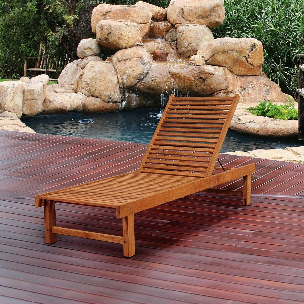 Amazonia radcliffe teak patio lounger sc niaslounger the for Amazon chaise longue