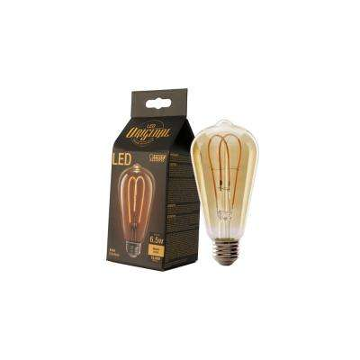 40W Equivalent Soft White ST19 Dimmable LED Antique Edison M-Type Amber Filament Vintage Style Glass Light Bulb (4-Pack)