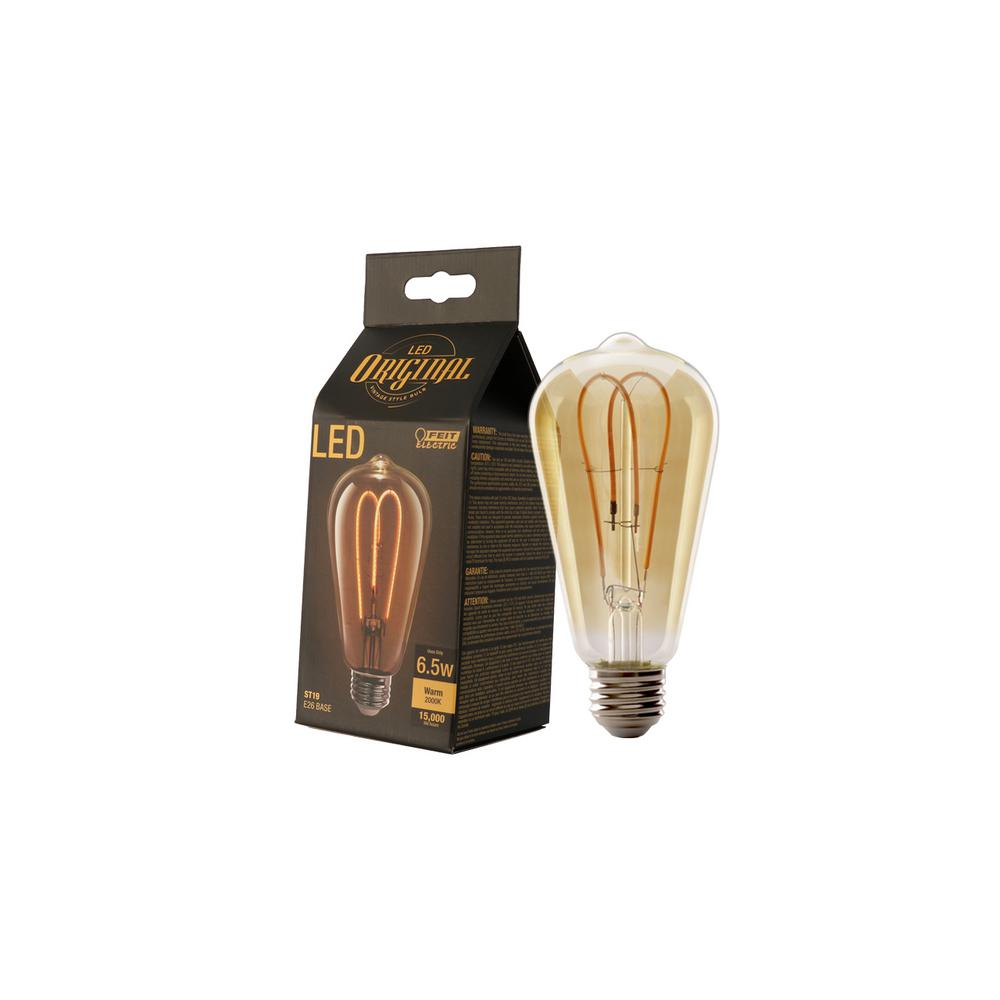 Feit Electric 40W Equivalent Soft White ST19 Dimmable LED Antique Edison M-Type Amber Filament Vintage Style Glass Light Bulb