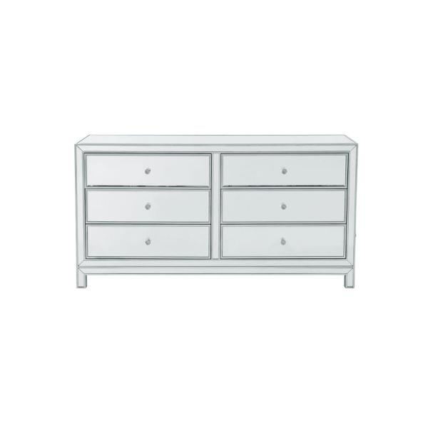 32 in. H x 60 in. W x 18 in. D Timeless Home 6-Drawer in Antique Silver Cabinet