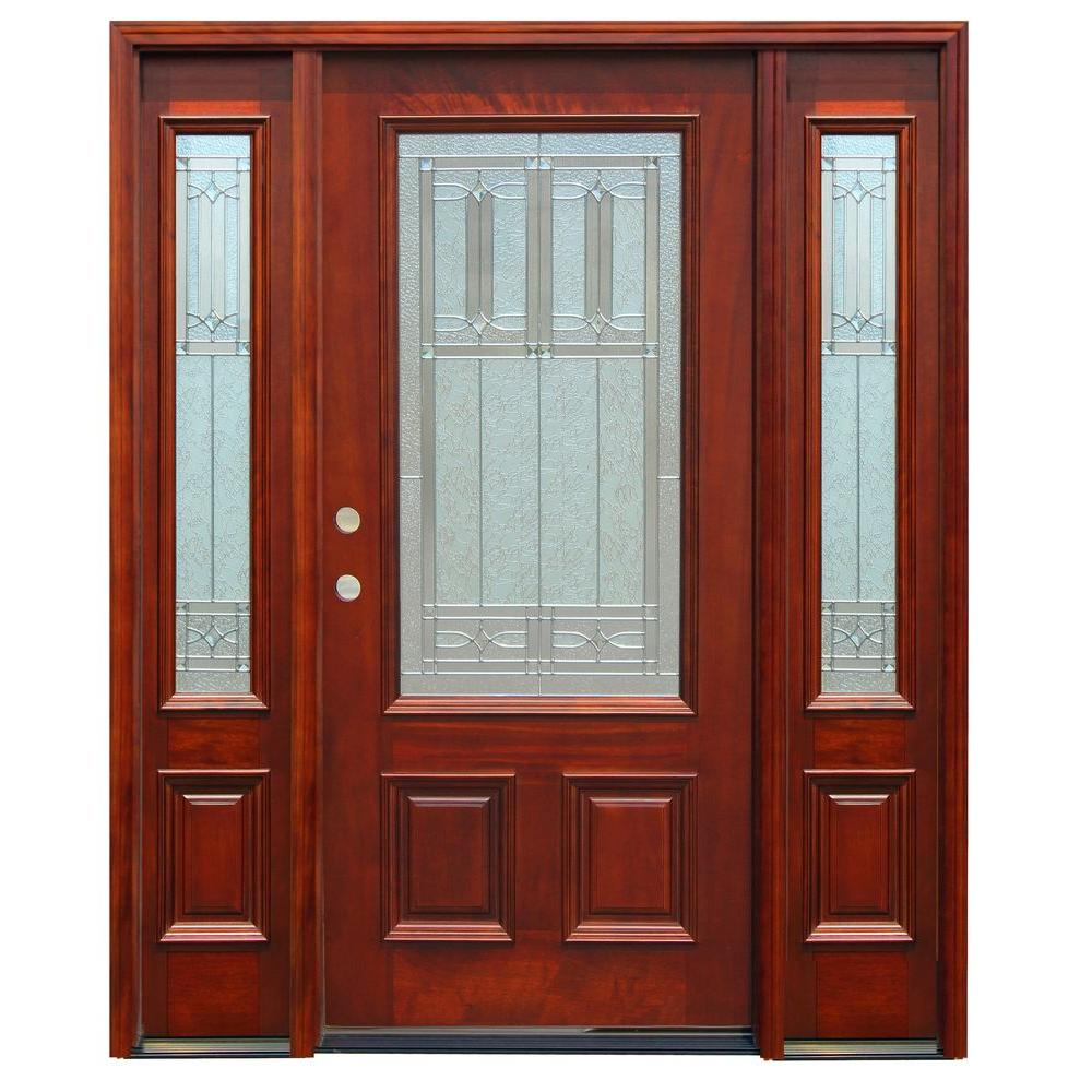 Pacific Entries 70in.x80in. Traditional 3/4 Lite Stained Mahogany Wood Prehung Front Door w/6in. Wall Series and 14in. Sidelites