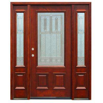 Traditional 3/4 Lite Stained Mahogany Wood Prehung Front Door w/6in. Wall Series and 14in. Sidelites