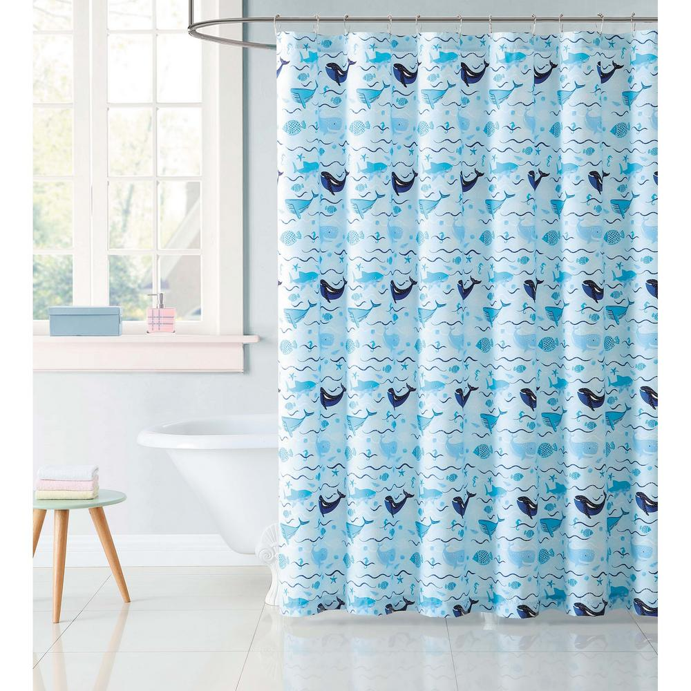 Kids 72 in. Deep Blue Sea Shower Curtain