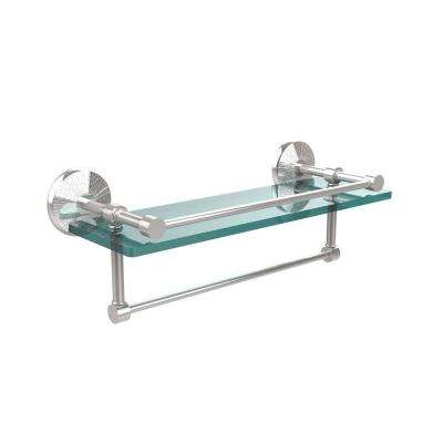 Monte Carlo 16 in. L  x 5 in. H  x 5 in. W Clear Glass Bathroom Shelf with Towel Bar in Polished Chrome