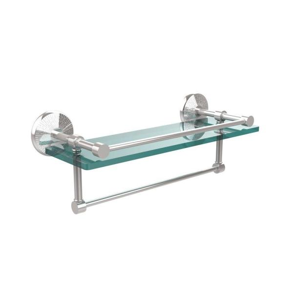 Allied Brass Monte Carlo 16 In L X 5 In H X 5 In W Clear Glass Bathroom Shelf With Towel Bar In Polished Chrome Mc 1tb 16 Gal Pc The Home Depot