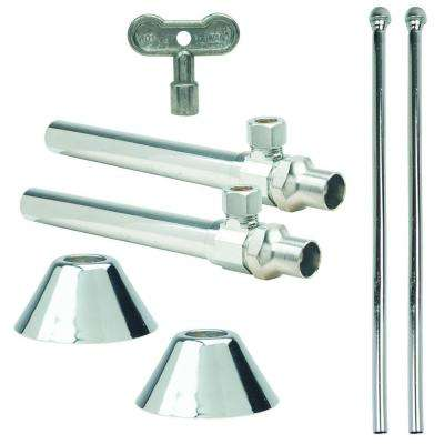 Faucet Kit: 1/2 in. Nom Sweat x 3/8 in. O.D. Comp Multi-Turn Angle Valve with Key, 5 in. Extension, 12 in. Riser, Flange