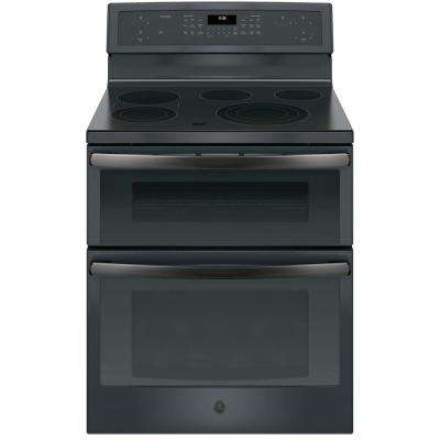 Profile 30 in. Free-Standing Electric Double Oven Convection Range in Black Slate, Fingerprint Resistant