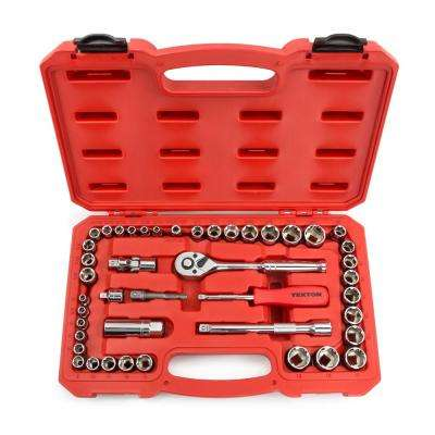 1/4 in. and 3/8 in. Drive 3/16-3/4 in. 5-19 mm 6-Point Shallow Socket Set (45-Piece)