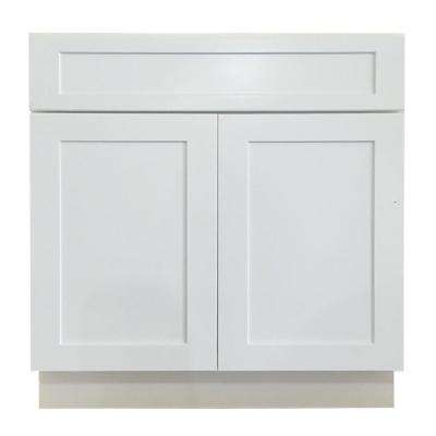 Shaker Ready to Assemble 30x34.5x24 in. Sink Base Cabinet with 2-Door and 1-Dummy Drawer in White